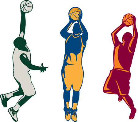 Collection or set of illustrations of basketball player dunking, shooting and rebounding ball done in retro style on isolated background. Illustration