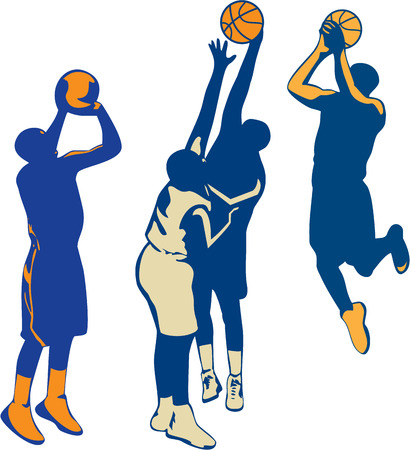Collection or set of illustrations of basketball player dunking, shooting and rebounding ball done in retro style on isolated background. Иллюстрация