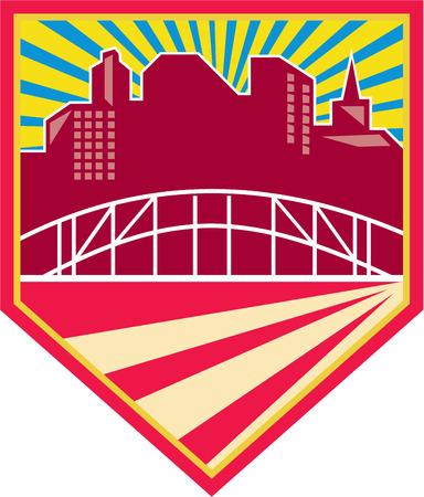 bay area: Illustration of skyscraper urban buildings and bridge set inside shield done in retro style. Illustration