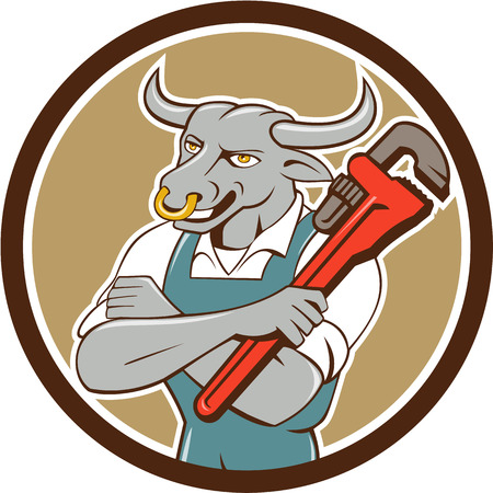 folded arms: Illustration of a bull plumber standing with arms folded looking to the side holding monkey wrench set inside circle on isolated background done in cartoon style.