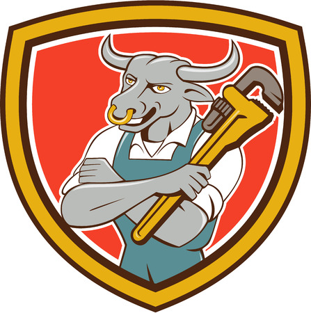 folded arms: Illustration of a bull plumber standing with arms folded looking to the side holding monkey wrench set inside shield crest on isolated background done in cartoon style. Illustration