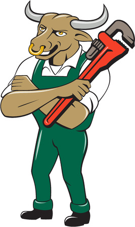 monkey wrench: Illustration of a bull plumber standing with arms folded looking to the side holding monkey wrench set on isolated white background done in cartoon style.