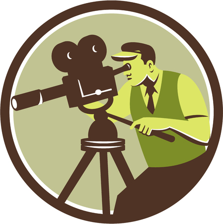 filmmaker: Illustration of a cameraman movie director with vintage camera filming shooting looking into lens viewed from the side set inside circle done in retro style.