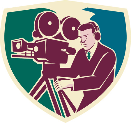 cameraman: Illustration of a cameraman moviemaker director with vintage movie camera set inside shield crest viewed from side done in retro style.