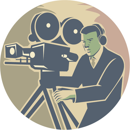 filmmaker: Illustration of a cameraman moviemaker movie director wearing headphones filming with vintage camera set inside circle done in retro style.