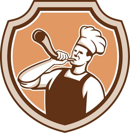 bull horn: Illustration of a chef cook or baker blowing bull horn set inside shield crest on isolated background done in retro style.