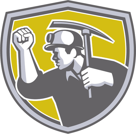 coal miner: Illustration of a coal miner wearing hardhat wiith clenched fist holding pick axe viewed from the side set inside shield crest on isolated background done in retro style.