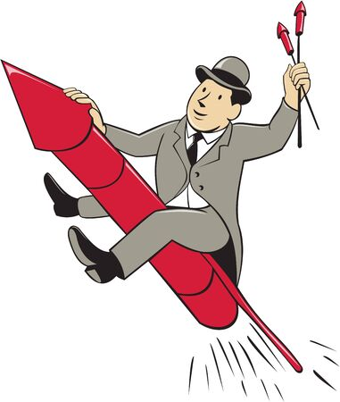 bowler hat: Illustration of a man in a suit wearing bowler hat holding fireworks riding fireworks rocket set on isolated white background done in cartoon style.