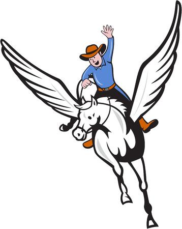 bras lev�: Illustration d'un cowboy avec le bras lev� chevauchant P�gase cheval volant fix� sur fond blanc isol� fait dans le style de bande dessin�e.