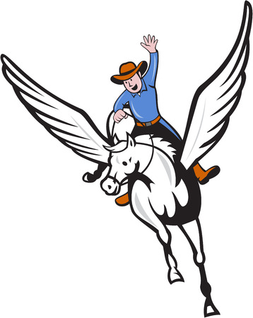 cowboy cartoon: Illustration of a cowboy with arm raised riding pegasus flying horse set on isolated white background done in cartoon style.