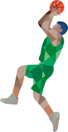 jump shot: Low polygon style illustration of a basketball player jump shot jumper shooting jumping viewed from the side set on isolated background.