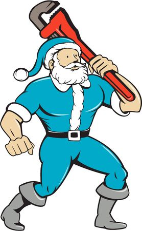 tool: Illustration of a muscular santa claus saint nicholas father christmas carrying monkey wrench wearing blue suit looking to the side set on isolated white background done in cartoon style.