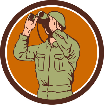 world war two: Illustration of a World War One American soldier serviceman looking through the binoculars set inside circle on isolated background done in retro style. Illustration