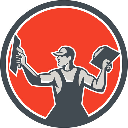 Illustration of a plasterer masonry tradesman construction worker with trowel extending arms looking to the side viewed from front set inside circle done in retro style on isolated background.