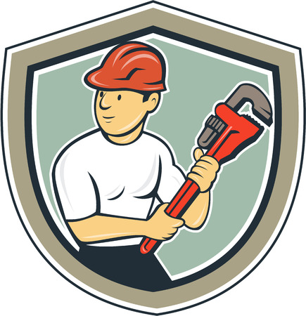 hardhat: Illustration of a plumber with hardhat holding monkey wrench looking to the side set inside shield crest on isolated background done in cartoon style.