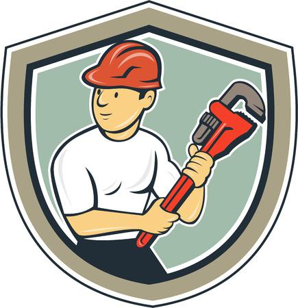 plumber: Ilustración de un fontanero con el sombrero duro que sostiene la llave inglesa que mira al conjunto de lado dentro de la cresta escudo en el fondo aislado hecho en estilo de dibujos animados.