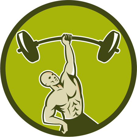 hand lifting weight: Illustration of a weightlifter lifting barbell with one hand set inside circle on isolated background viewed from front done in retro style.