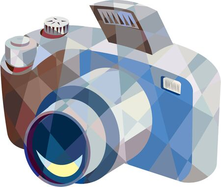 dslr: Low polygon style illustration of a camera dslr facing front viewed from top set on isolated white background.