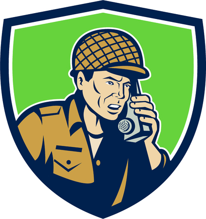 two men: Illustration of a World War two American soldier serviceman talking on field radio walkie-talkie viewed from front set inside shield crest on isolated background done in retro style.