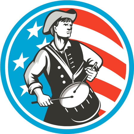 drummer: Illustration of an american patriot drummer looking to the side viewed from front, set inside circle with usa stars and stripes flag in the background done in retro style.