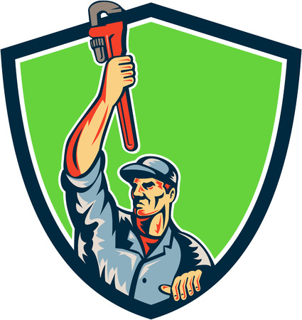arm raised: Illustration of a plumber with arm raised up holding monkey wrench looking to the side viewed from front set inside shield crest with sunburst in the background.