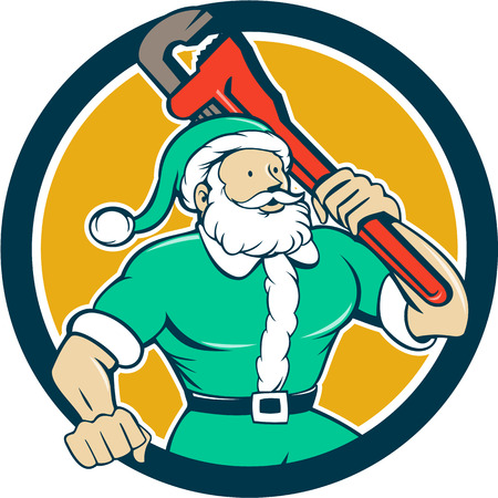 monkey suit: Illustration of a muscular santa claus saint nicholas father christmas carrying monkey wrench wearing green suit set inside circle on isolated background done in cartoon style.