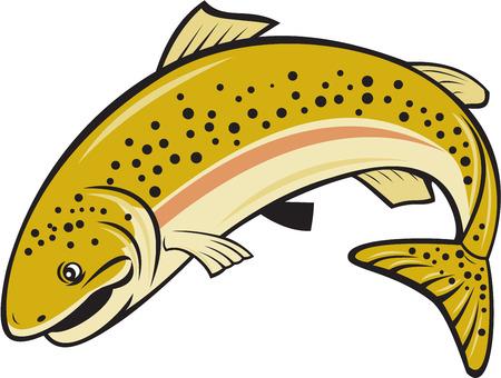 Ilustración de un pez trucha arco iris salto ve desde el lado situado en el fondo blanco aislado hecho en estilo de dibujos animados. Foto de archivo - 41454538