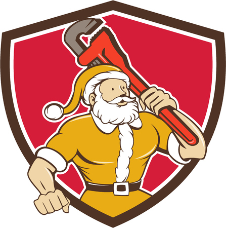 kringle: Illustration of santa claus saint nicholas father christmas carrying monkey wrench wearing yellow suit looking to the side set inside shield crest on isolated background done in cartoon style. Illustration