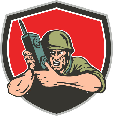 world war two: Illustration of a World War two American soldier serviceman holding field radio walkie-talkie viewed from front set inside shield on isolated background done in retro style. Illustration