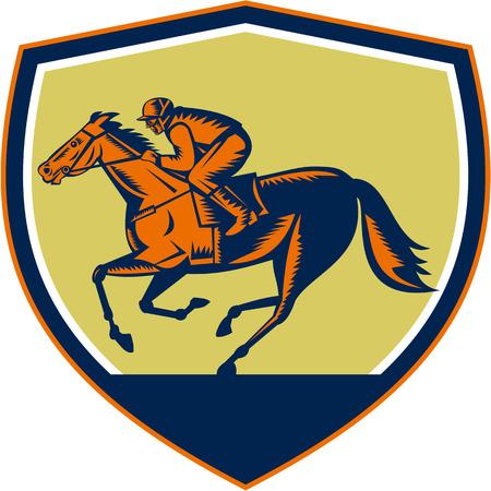 carreras de caballos: Ilustración de caballo y jinete de carreras se ve desde el lado de conjunto dentro de escudo protector en el fondo aislado hecho en estilo retro grabado en madera. Vectores