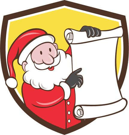 father christmas: Illustration of santa claus saint nicholas father christmas smiling holding paper scroll pointing to the list set inside shield crest on isolated background done in cartoon style. Illustration