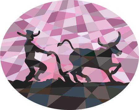 asian farmer: Low polygon style illustration of southeast asian farmer and water buffalo plowing field viewed from side set inside oval shape. Illustration