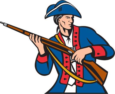 mosquetero: Ilustración de una milicia patriota americano llevando mosquete mirando al conjunto lado en el fondo blanco aislado hecho en estilo retro.