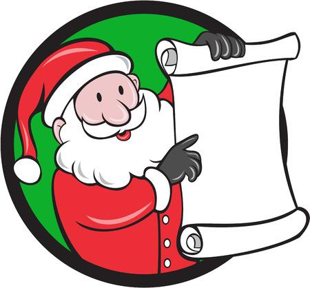 saint nicholas: Ilustraci�n de Pap� Noel San Nicol�s Pap� Noel sonriente que sostiene el papel pergamino que apunta a la lista que figura dentro del c�rculo en el fondo aislado hecho en estilo de dibujos animados. Vectores