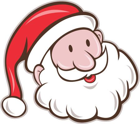 pere noel: Illustration du Père Noël Saint Nicolas père noël tête souriante réglé sur fond blanc isolé fait dans le style de bande dessinée.