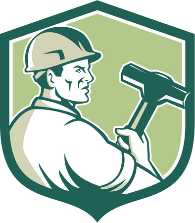 demolition: Illustration of a demolition worker wearing hardhat holding sledgehammer viewed from the side set inside shield crest on isolated background done in retro style.
