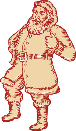 kris kringle: Etching engraving handmade style llustration of santa claus saint nicholas father christmas standing thumbs up on isolated white background. Illustration