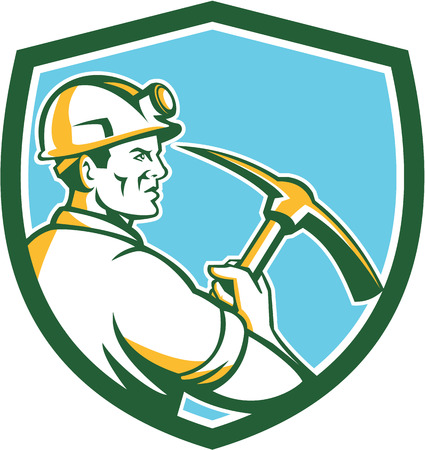 coal miner: Illustration of a coal miner wearing hardhat with light lamp holding crossed pick axe viewed from the side set inside shield crest on isolated background done in retro style.