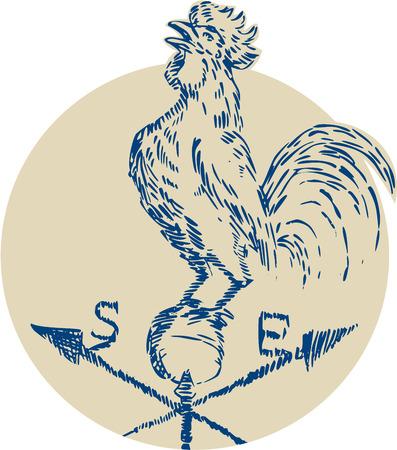 gallo: Estilo de ilustraci�n hecha a mano grabado Grabado de un gallo cacareo del gallo que se coloca encima de la veleta se ve desde el lado fij� el c�rculo interior en el fondo aislado.