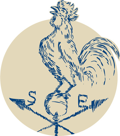 crowing: Etching engraving handmade style illustration of a rooster cockerel crowing standing on top of weather vane viewed from the side set inside circle on isolated background. Illustration