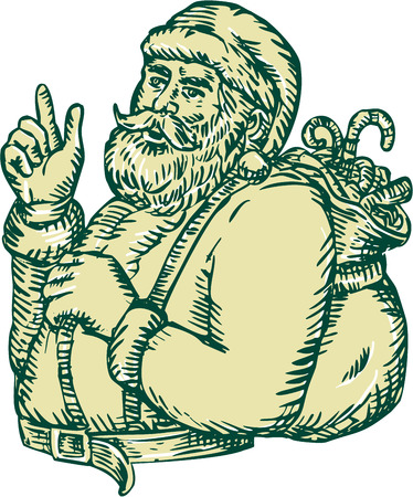 Etching engraving handmade style illustration of santa claus saint nicholas father christmas with sack in his back pointing upwards viewed from the side set on isolated background.