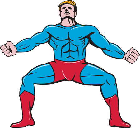 strong men: Illustration of a superhero in a squat position with arms out looking up viewed from front set on isolated white background done in cartoon style.