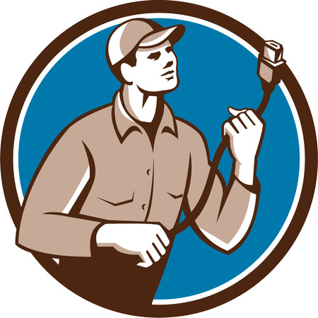 plug hat: Illustration of a worker technician holding hdmi plug cord looking to the side set inside circle on isolated background done in retro style.