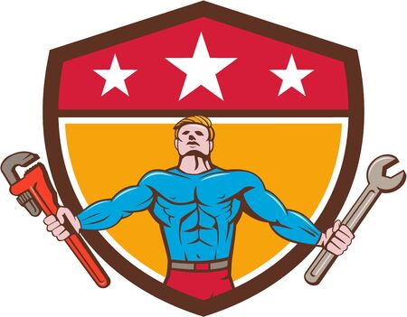 looking up: Cartoon style illustration of a superhero handyman holding spanner and monkey wrench standing looking up viewed from the front set inside shield crest with stars on top set on isolated background. Illustration