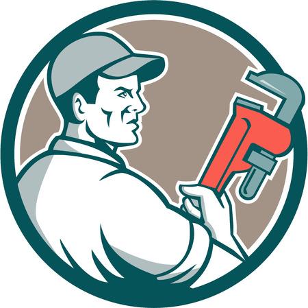 plumber: Ilustración de un fontanero con el sombrero de la llave de retención mono ve desde el lado fijó el círculo interior en el fondo aislado hecho en estilo retro.