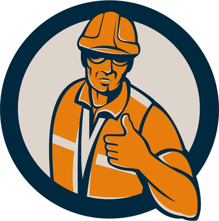 front facing: Illustration of a construction worker wearing hardhat standing thumbs up facing front set inside circle done in retro style.