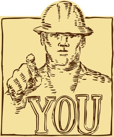 hardhat: Etching engraving handmade style illustration of a construction worker wearing hardhat pointing with the word YOU under viewed from the front set inside square shape done in retro woodcut style. Illustration