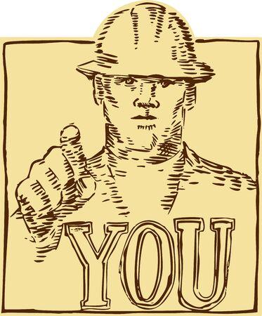 bauarbeiterhelm: Radierung Gravur handgefertigten Stil Abbildung eines Bauarbeiters wearing Hardhat zeigt mit dem Wort, das Sie im Rahmen von vorne innen quadratische Form im Retro Holzschnitt Stil getan betrachtet.