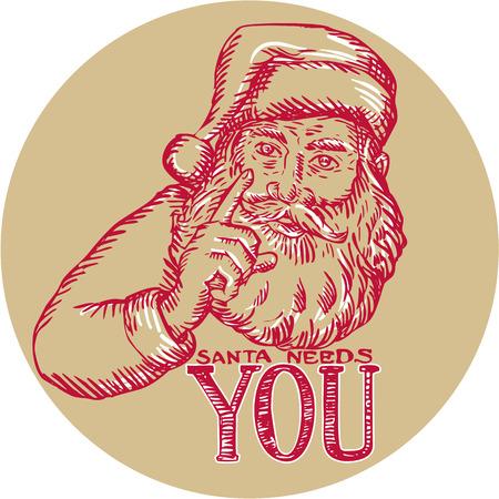 saint nicholas: Grabado ilustraci�n de estilo artesanal Aguafuerte de Pap� Noel San Nicol�s Pap� Noel que se�ala con palabras de Santa te necesita configurar c�rculo interior en el fondo aislado.