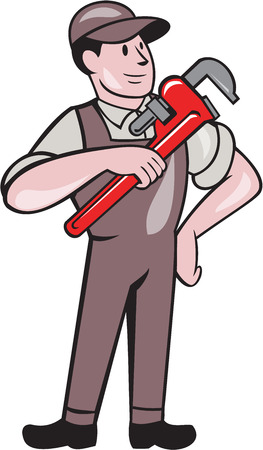 monkey wrench: Illustration of a plumber in overalls and hat pointing monkey wrench standing looking to the side set inside on isolated white background done in cartoon style.